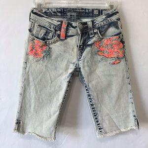 Miss Me Bermuda Acid Wash Jean Shorts